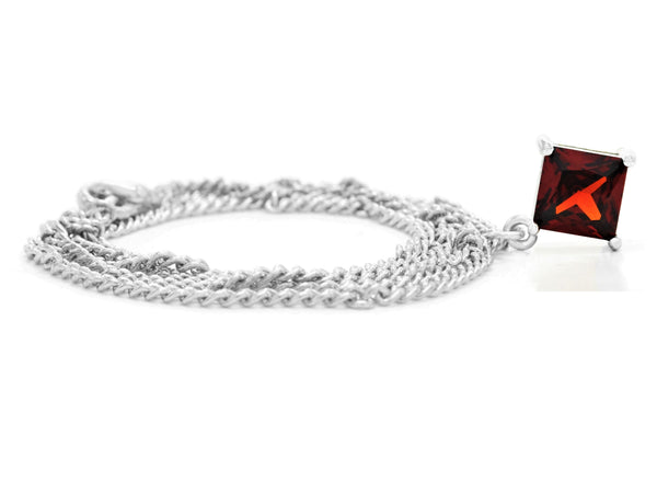 Red gem princess white gold necklace FRONT