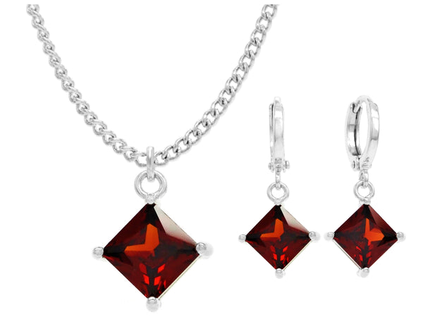 White gold red princess necklace and earrings MAIN