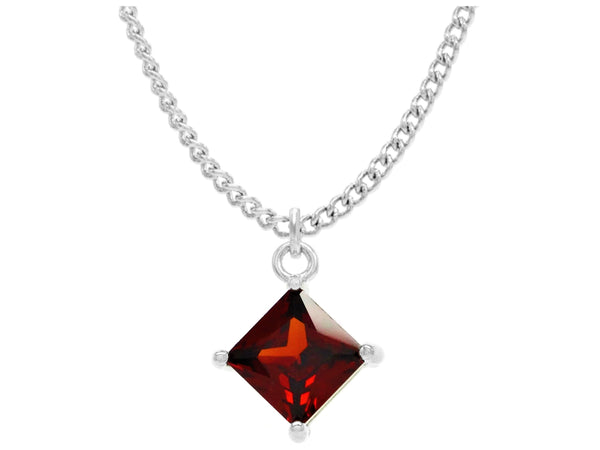 Red gem princess white gold necklace MAIN