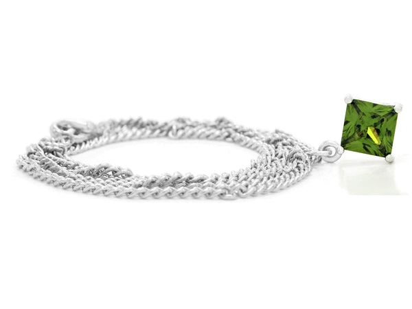 Green gem princess white gold necklace FRONT