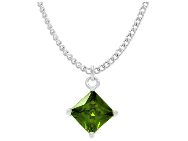 Green gem princess white gold necklace MAIN