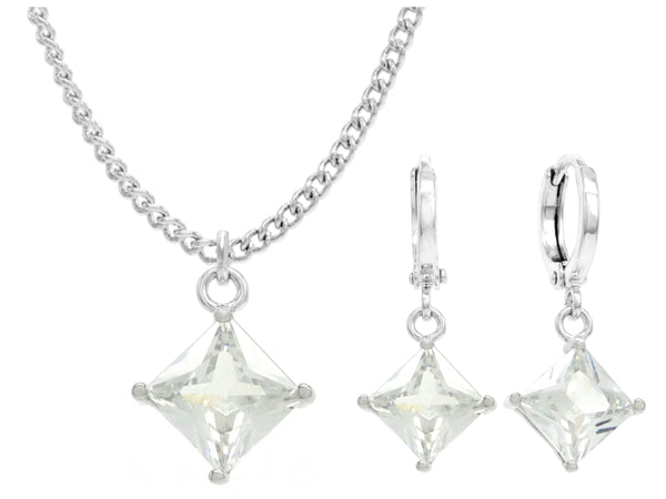 White gold clear princess necklace and earrings MAIN