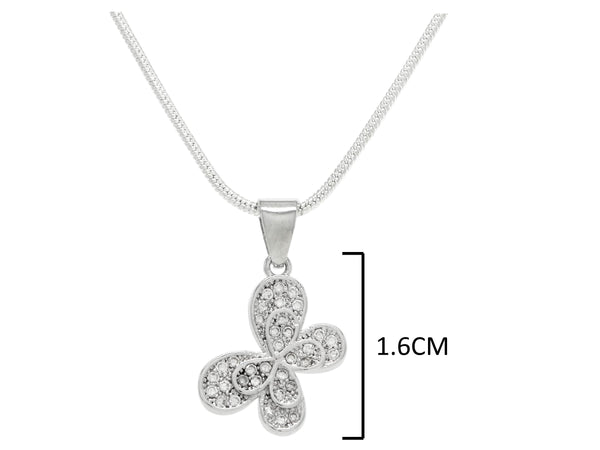 Sterling silver white butterfly necklace and earrings MEASUREMENT