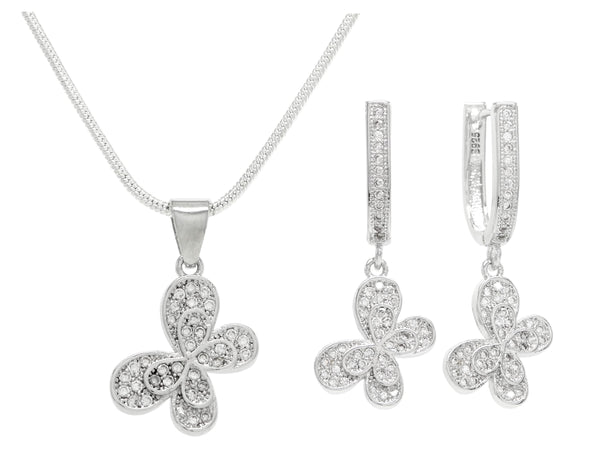 Sterling silver white butterfly necklace and earrings MAIN