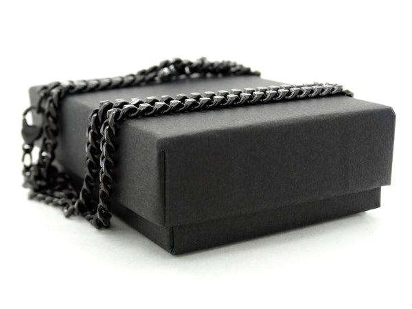 Black stainless steel thin chain bracelet GIFT BOX