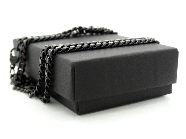Black stainless steel thin chain necklace GIFT BOX