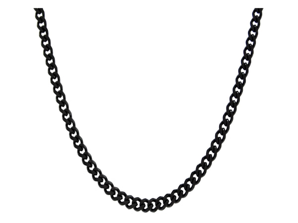 Black stainless steel thin chain necklace MAIN