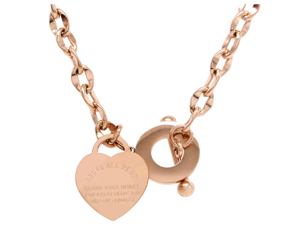 Rose gold proverbs 4:23 necklace MAIN