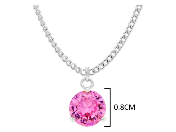 White gold pink round gem necklace and earrings MEASUREMENT