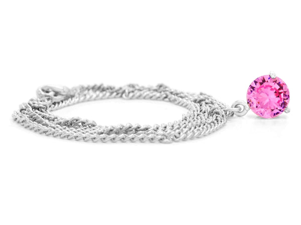 Pink gem white gold necklace FRONT