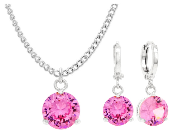 White gold pink round gem necklace and earrings MAIN