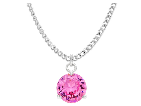 Pink gem white gold necklace MAIN