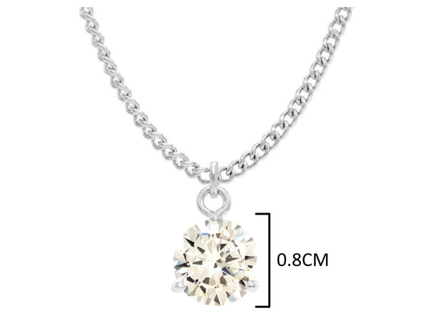 Clear gem white gold necklace MEASUREMENT