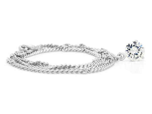 Clear gem white gold necklace FRONT