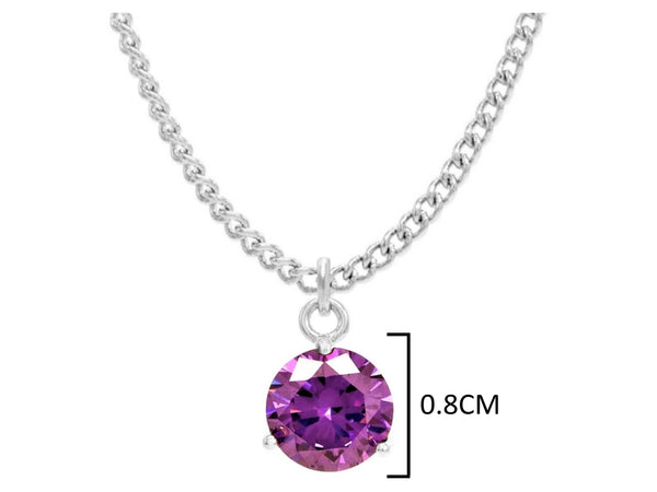 Purple gem white gold necklace MEASUREMENT