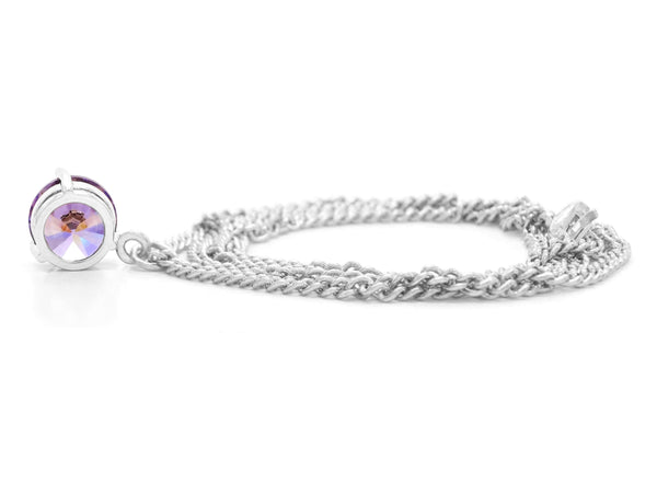 Purple gem white gold necklace BACK