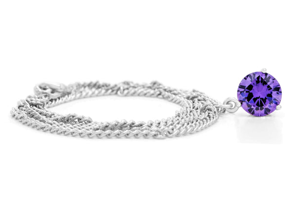Purple gem white gold necklace FRONT