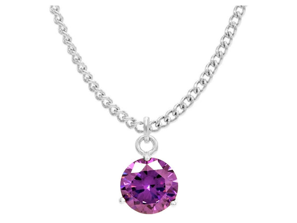 Purple gem white gold necklace MAIN