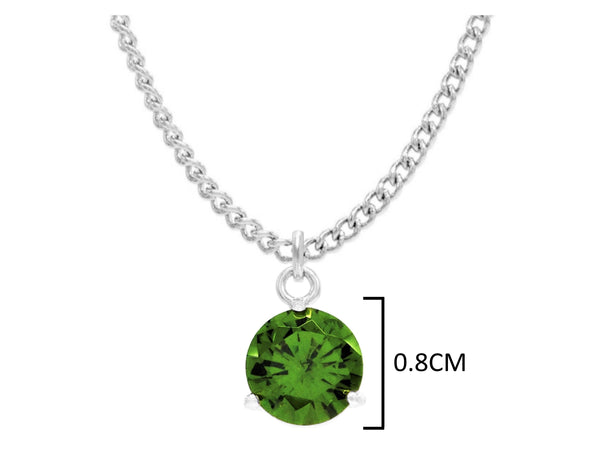 White gold green round gem necklace and earrings MEASUREMENT