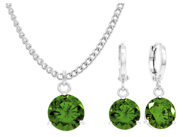 White gold green round gem necklace and earrings MAIN
