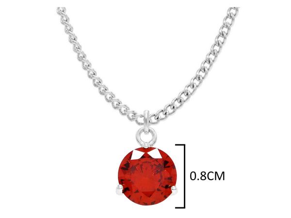 White gold red round gem necklace and earrings MEASUREMENT