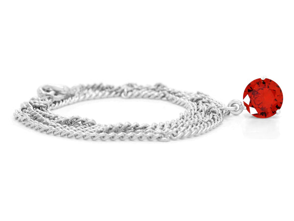 Red gem white gold necklace FRONT