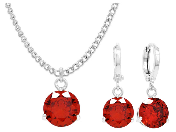 White gold red round gem necklace and earrings MAIN