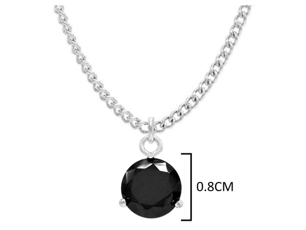 White gold black round gem necklace and earrings MEASUREMENT