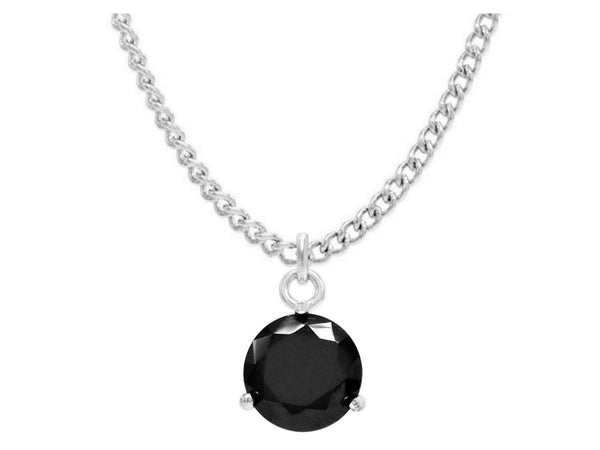 Black gem white gold necklace MAIN