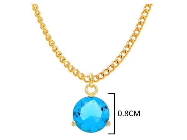 Blue gem gold necklace MEASUREMENT
