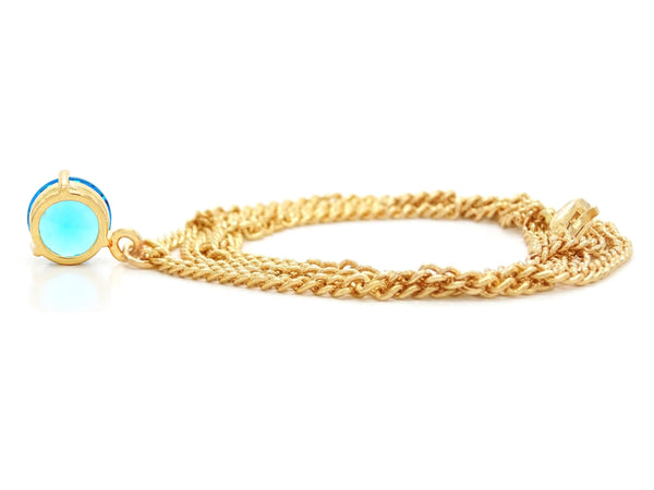 Blue gem gold necklace BACK