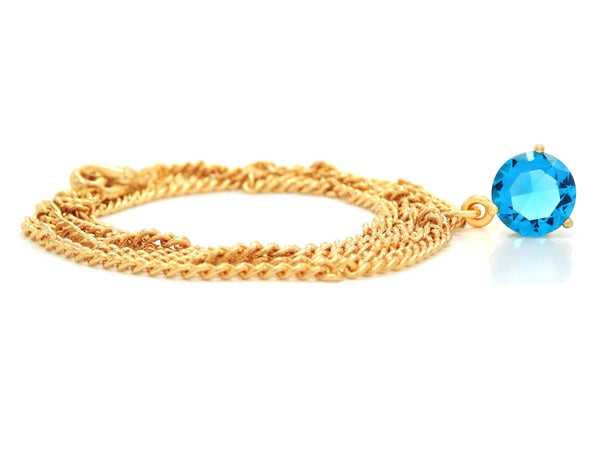Blue gem gold necklace FRONT