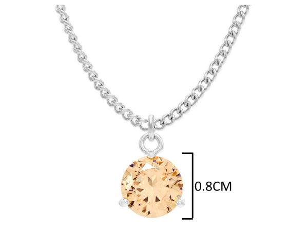 White gold champagne round gem necklace and earrings MEASUREMENT