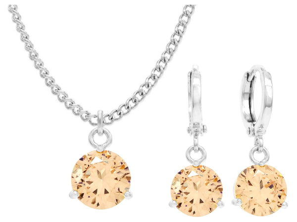 White gold champagne round gem necklace and earrings MAIN