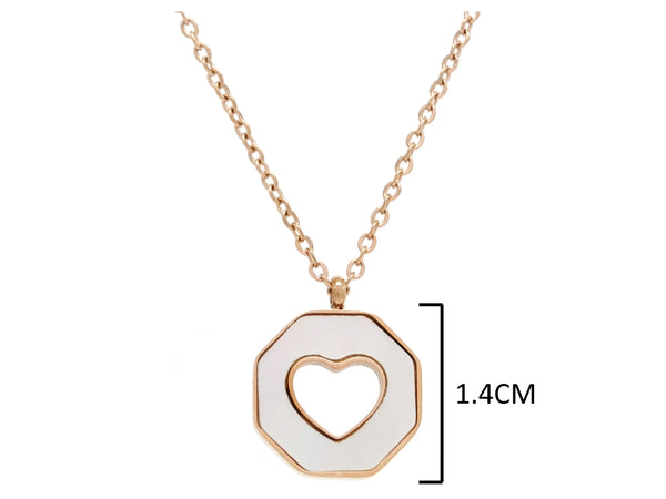 Rose gold white sea shell heart necklace MEASUREMENT