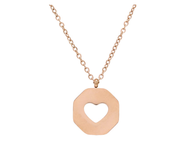 Rose gold white sea shell heart necklace BACK