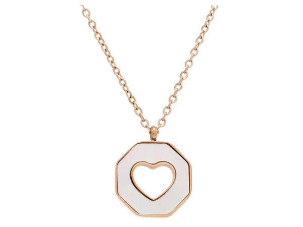Rose gold white sea shell heart necklace MAIN
