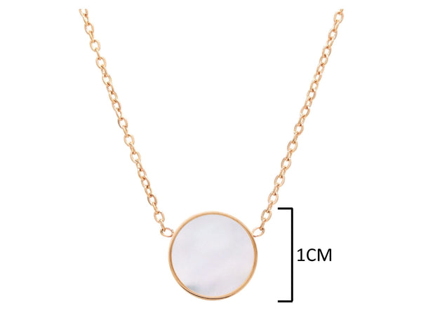 Rose gold round white sea shell jewellery set NECKLACE MEASUREMENT