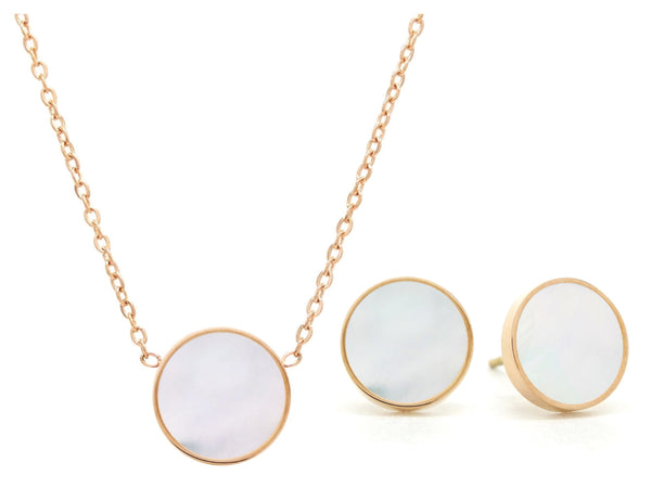 Rose gold round white sea shell jewellery set MAIN