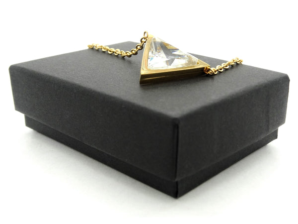 Yellow gold white trillion necklace and earrings GIFT BOX