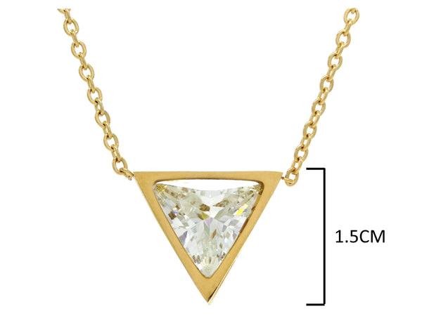 Yellow gold white trillion necklace and earrings MEASUREMENT 2