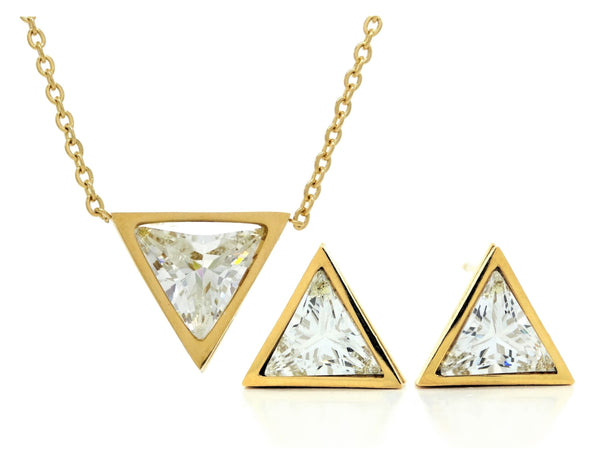 Yellow gold white trillion necklace and earrings MAIN