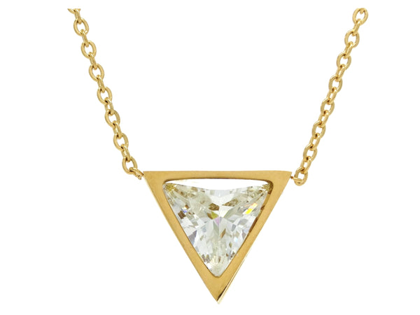 White trillion yellow gold necklace MAIN