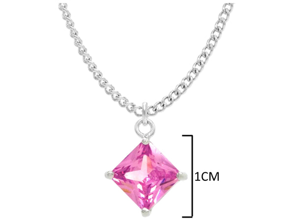 Pink gem princess white gold necklace MEASUREMENT