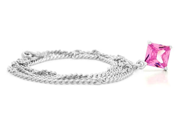 Pink gem princess white gold necklace FRONT