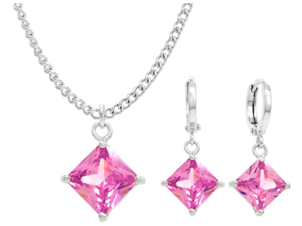 White gold pink princess necklace And earrings MAIN