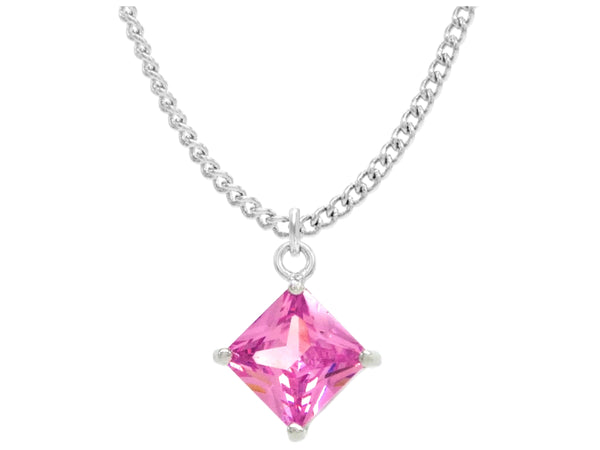 Pink gem princess white gold necklace MAIN
