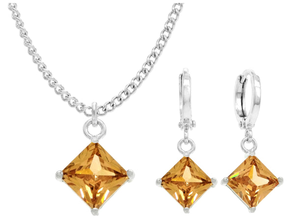 White gold orange princess necklace and earrings MAIN