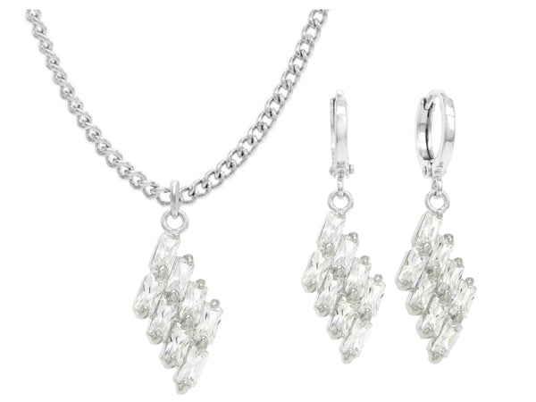 Clear drop baguette white gold necklace and earrings MAIN