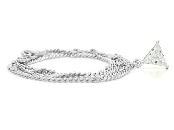 Clear gem trillion white gold necklace FRONT